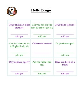 ESL Hello Bingo - English Practice Icebreaker