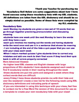ESL Highschool Vocabulary Lists Set One