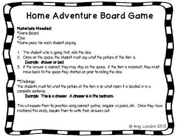 ESL Home Vocabulary Board Game