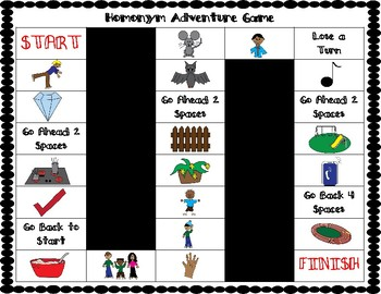ESL Homonyms Vocabulary Board Games