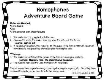 ESL Homophones Vocabulary Board Game