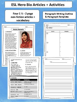 4 World Human Rights Leaders Biographical Articles with Activities for ESL