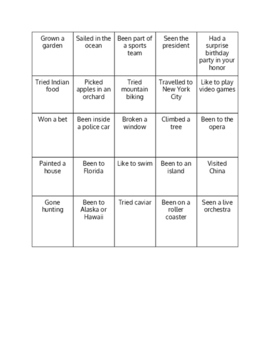 ESL Ice Breaker - Conversation Bingo