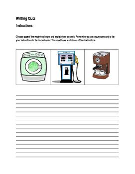 ESL Instructions Writing Quiz