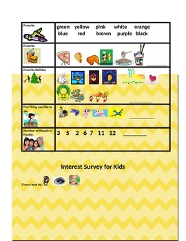 ESL Interest Survey with Pictures