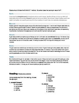 ESL Intermediate/ Advanced Thematic Lesson: Goal Setting
