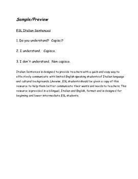 ESL Italian Sentences (ELL - EFL)