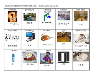 Japanese/English flash cards, school words