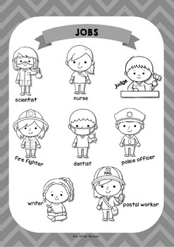 ESL Jobs vocabulary posters for years 3 & 4