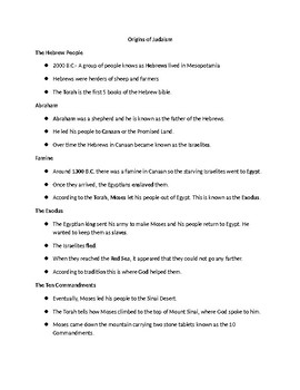 ESL Judaism PowerPoint Note Sheet
