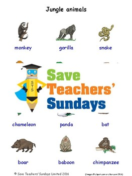 ESL Jungle Animals Worksheets, Games, Activities and Flash Cards (with audio)