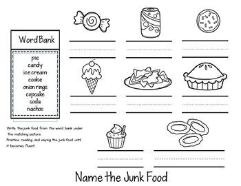 ESL Food Groups:  Junk Food  Flip Book!
