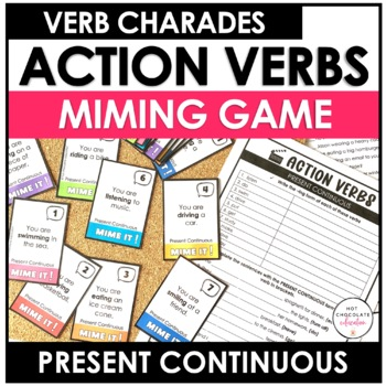 Present Continuous Charades - 60 Verb cards