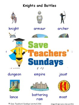 ESL Knights & Battles Worksheets, Games, Activities and Flash Cards (with audio)