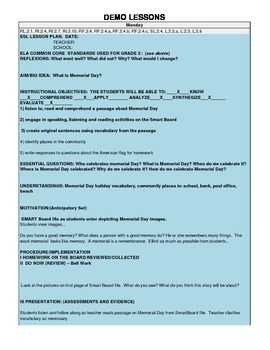 ENL LESSON PLAN:  WHAT IS MEMORIAL DAY?  (GRADE 2)