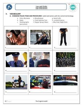 ESL Law and Order: Law Enforcement Lesson (Uneditable)