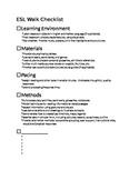ESL Learning Walk Check List