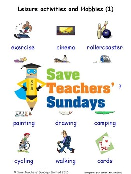 ESL Leisure Activities Worksheets, Games, Flash Cards and More (with audio) 1