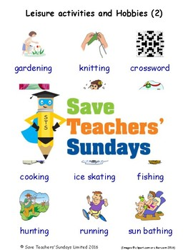ESL Leisure Activities Worksheets, Games, Flash Cards and More (with audio) 2