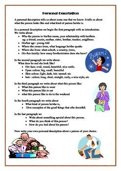 ESL Lesson - How to write a personal description.