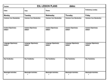 Siop lesson plan template teaching resources teachers pay teachers esl lesson plan template esl lesson plan template pronofoot35fo Images
