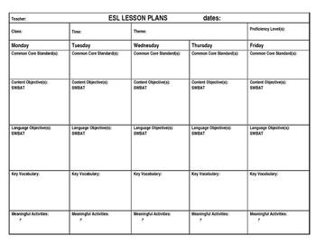 ESL Lesson Plan Template