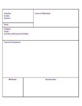ESL Lesson Plan Template - PDF