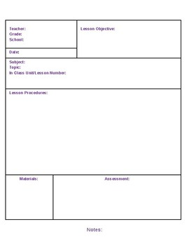 ESL Lesson Plan Template - Word
