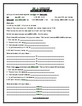 ESL Lesson Plan & Worksheets (Print) - So & Because 1