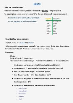 ESL Lesson Plans 2 - Basic Grammar (Part A - Regulars/Irregulars + Fun Activity)