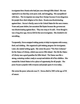 ESL Lesson about Emma Lazarus