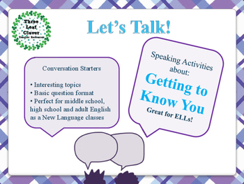 ESL Let's Talk! Conversation Starters - ESL, ENL, Speaking Activities BUNDLE
