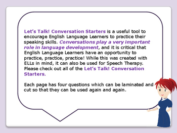 ESL Let's Talk! Conversation Starters - ESL, ENL, Speaking Activities BUNDLE