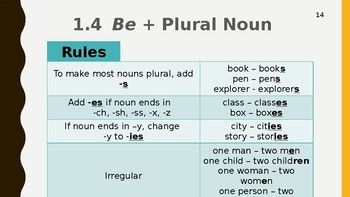 ESL Level 1 - A or An, Plural, Verbs, Hot Seat