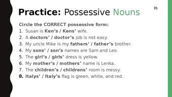 ESL Level 1 - Possessive Adjectives & Nouns, Thinking on Your Feet, Speaking
