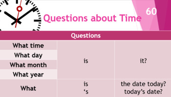 ESL Level 1 - Wh- Questions, Contractions, Prepositions of Place, Telling Time