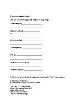 ESL Level 2 Beginner Advanced Beginner Adult Child Classroom Will/Might