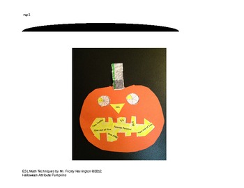 ESL MATH Halloween Attribute Pumpkins:Fractions Decimals Percents