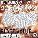 ESL MATH SCAFFOLDS - PLACE VALUE WORD BANK - numbers through one million