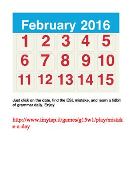 ESL MISTAKE-A-DAY CALENDAR APP (FEBRUARY 2016)
