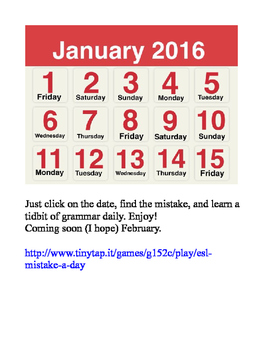 ESL MISTAKE-A-DAY CALENDAR APP (JANUARY 2016)