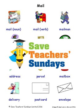 ESL Mail Worksheets, Games, Activities and Flash Cards (with audio)