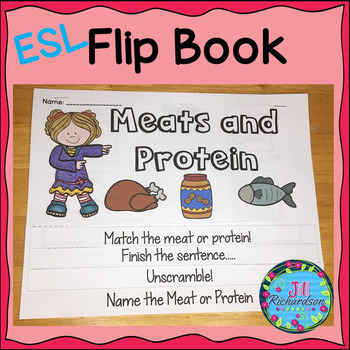 ESL Food Groups:  Meats and Protein Flip Book!