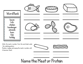 ESL Food Groups:  Meats and Protein Flip Book! ESL Vocabulary for Beginners