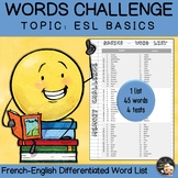 Vocabulary Word List Basics
