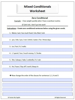 ESL Mixed Conditional ( 0 - 1st - 2nd- 3rd) - Worksheet / Assessment