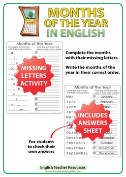 ESL Months in English - Missing Letters Activity
