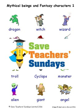 ESL Mythical Beings Worksheets, Games, Activities and Flash Cards (with audio) 1