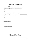 ESL New Years Lesson- Vocabulary, Goal-Setting, and Past/F