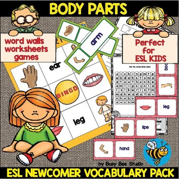 ESL Newcomer Body Parts Vocabulary Pack